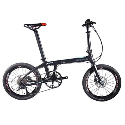 "417MtB8vaML. SS500  - SAVA 20"" Carbon Fiber Folding Bike Mini Compact City Bicycle SHIMANO 3000 9-Speed"