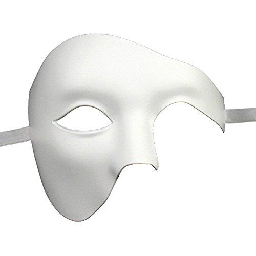 Qualität Hälfte Gesicht Phantom Weiß Theatralisch Venezianische Karneval Maskerade Partei - Leben Von Der Partei Kostüm