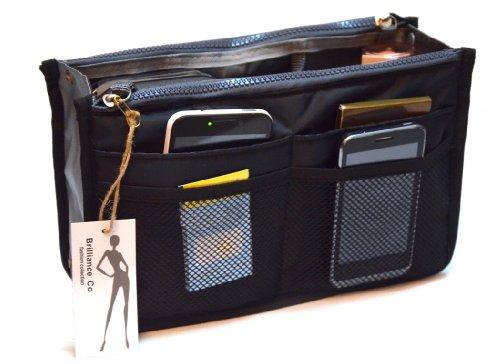 Brilliance Co Organizer für Handtasche - Handtaschenordner - Taschenorganizer Bag in Bag (Schwarz) (Organizer Schwarze Handtasche)