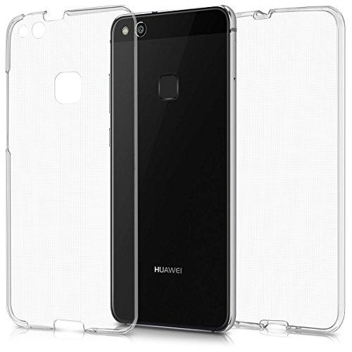 kwmobile, Custodia protettiva anteriore e posteriore in silicone TPU per Huawei P10 Lite, Protezione cristallina a 360 gradi, Trasparente