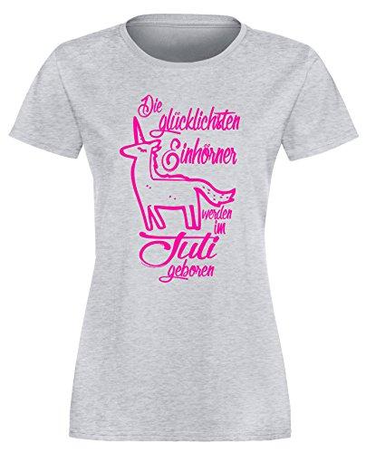 Die Glücklichsten Einhörner werden im Juli geboren! Perfektes Geschenk zum Geburtstag - Damen Rundhals T-Shirt Grau/Neonpink