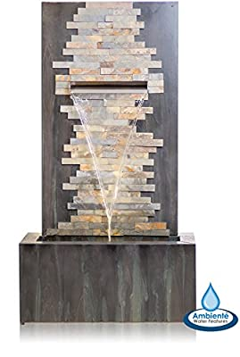 100cm Dante Zinc and Stone Self Contained Water Feature with LED Lights Ambienté™ from Primrose