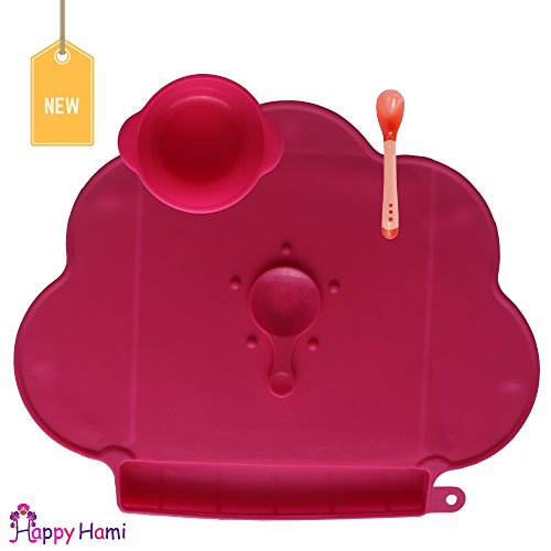 Happy Hami Baby Placemat and a FREE surprise gift, the best silicone placemat for clean, mess-free and happy dining. It also comes with a bowl or a spoon which is perfect for babies, toddlers and kids of all ages. Si