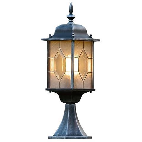 Konstsmide Traditional Milano Leaded Effect Post Top Light Antique Finish Lacquered Aluminium - Matt Black/Silver