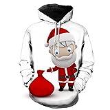 Internet-Suéter de Manga Larga con Capucha para Hombre, con Estampado 3D de Dibujos Animados de Papá Noel(Blanco M-5XL)