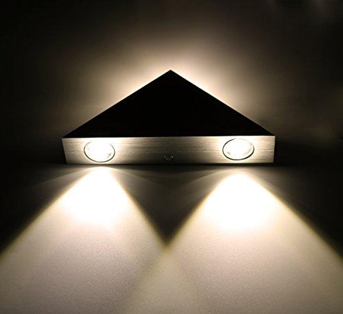 Lamker 3W LED Wandleuchte Innen Moderne Energiesparende Wandlampe Aluminium Flurlampe Treppenleuchten für Treppenhaus Flur Korridor Wohnzimmer Schlafzimmer Eingangsflur Abstrahlwinkel Design Dreieck Sconce Warmeiß