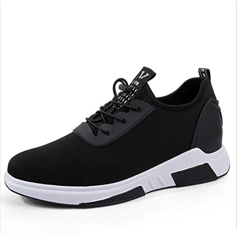 XUE Herren Sneakers Schuhe Stricken Atmungsaktiv Lace up Comfort Laufschuhe Leichte Casual Wanderschuhe Höhe Erhöhen