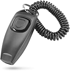 Leoie 2in1 Dog Pet Puppy Cat Training Clicker Whistle Click Trainer Obedience Black