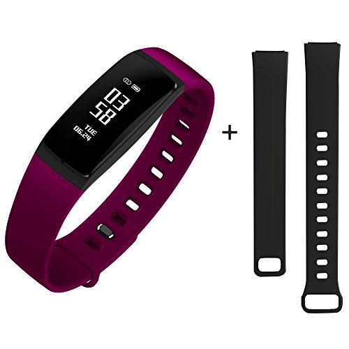 Fitness Tracker Smart Armband mit Herzfrequenz Monitor Blutdruck Monitor Smart Pedometer Uhr Bluetooth 4.0 mit Step Counter / Calorie Tracker / Sleep Monitor / Call Alert für iPhone und Android Smart Phone (Lila)