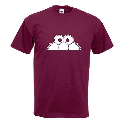 KIWISTAR - Elmo - Halber Elmo - Ernie - Bert T-Shirt in 15 verschiedenen Farben - Herren Funshirt bedruckt Design Sprüche Spruch Motive Oberteil Baumwolle Print Größe S M L XL XXL Burgund