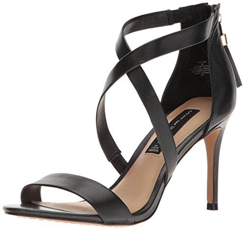 9. STEVEN by Steve Madden Women's Nahlah Dress Sandal, Black Leather, 9 M US