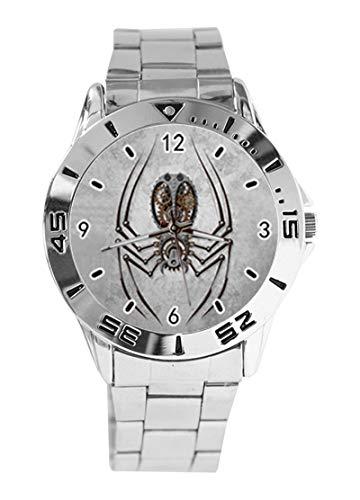 Steampunk Armbanduhr mit Spider auf rauem Stahl, individuelles Design, analoges Quarzuhrwerk, silberfarbenes Zifferblatt, klassisches Edelstahl-Band für Damen und Herren
