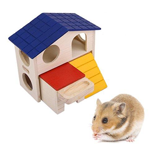 Galleria fotografica WINOMO casa nascondiglio capanna per piccoli animali casette di legno per criceto topo gerbillo