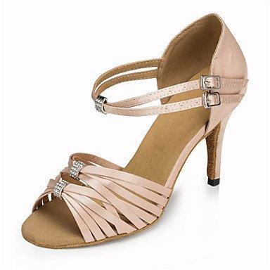 Silence @ pour femme Chaussures de danse latine/Jazz/Chaussures de swing/Salsa/Samba satiné Talon Noir/rose/rouge noir
