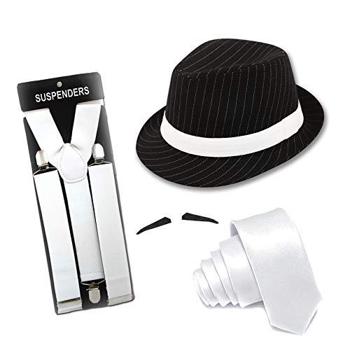 FancyDressFactory Erwachsener Gangster-Kostüm-Nadelstreifen-schwarzer Hut mit Krawatte und Schnurrbart (Weiß) (Weiß Schnurrbart Kostüm)