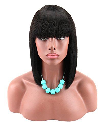Afro Kostüm Haar Perücke - Kalyss weibliche schwarze kurze glatte bob Perücke mit Pony Yaki synthetisch Haar Perücke hitzebeständige kurze gerade schwarze Perücke für Frauen