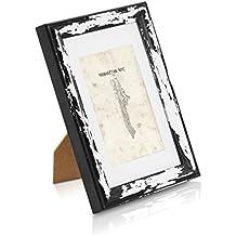 Marco de Foto Vintage de MADERA SÓLIDA de 18x13cm - Shabby Chic Originales - Paspartú para Fotos 15x10 cm incluida - Negro desestresado - Frente de VIDRIO - ¡Anchura de los marcos 2cm!