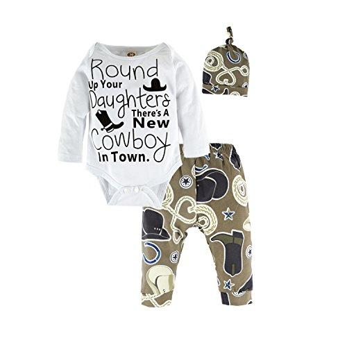 BIG ELEPHANT 3 Stück Baby Jungen Bodysuit Langarm Top Hosen Kleidung Set mit Hut O39