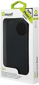 Muvit - Etui/Housse Clapet ultra fin + protection écran Nouvel Iphone 5 (New Iphone) - Noir - MUSLI0070