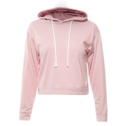 Autunno Sexy Sezione Corta Colore Solido Coulisse Femmina Cappotto Vestito Cappuccio Pink