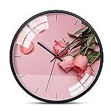 JIAER Blumenmuster Metall Glas Wanduhr Hause Wohnzimmer Schlafzimmer Kunst Dekoration Stumm Uhr 30 cm