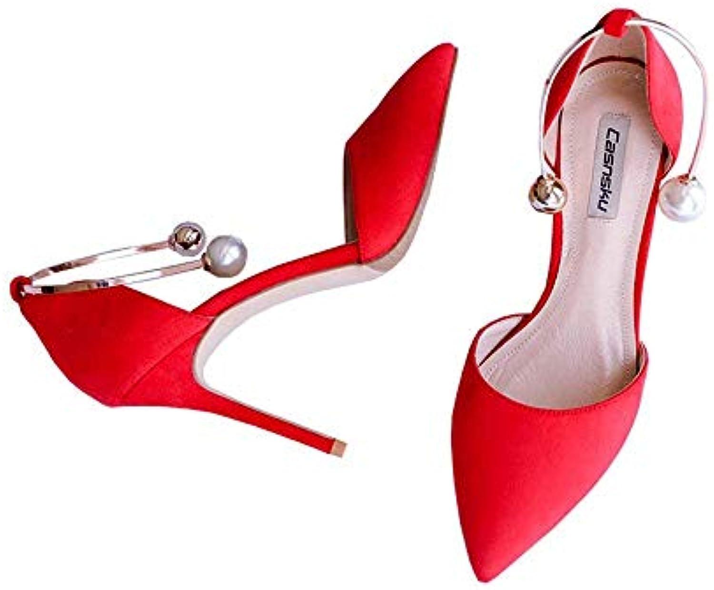 Eeayyygch Chaussures 8cm, 10cm Rouge Rouge Rouge Europe États-Unis Été Perle Pied Anneau Boucle Talons Hauts, Sexy Wild Pointu...B07JX7M8F1Parent abb91b