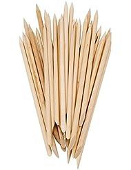 Lot de 50 bâtons en bois à deux extrémités pour repousser les cuticules