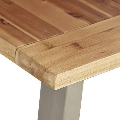 Festnight Esstisch Esszimmertisch Küchentisch Schreibtisch Arbeitstisch Holztisch aus Geölter Oberfläche Tischplatte und Edelstahl Füße 120×65×75 cm Akazie Massivholz