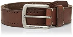 Flying Machine Mens Belt (FMAL0506_Dark Brown_34)