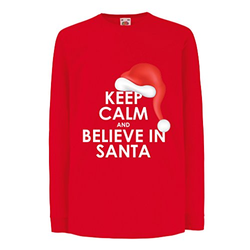 Bambini t-shirt con maniche lunghe Keep Calm and Believe in