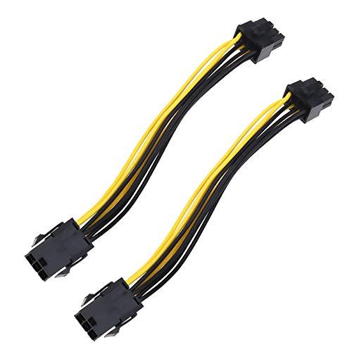 2 piezas 6 pines a 8 pines tarjeta gráfica fuente de alimentación cable conector Express Power Converter placa base cable 18 cm para Desktop CP Graphics
