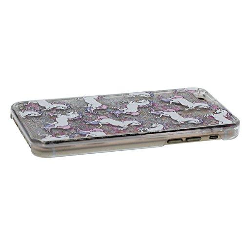 """iPhone 6S Plus Coque Dur Transparent Case étui de Protection pour Apple iPhone 6 Plus 6S Plus 5.5"""", Charmant cheval Blanc Motif Liquide Eau Style Coloré Sable / Étoiles Gris"""