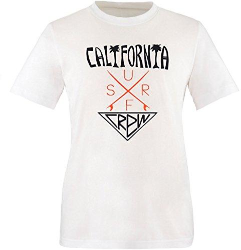 EZYshirt® California Surf Crew Herren Rundhals T-Shirt Weiss/Schwarz/Orange
