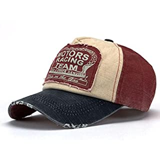 Amison Unisex Baseball Cap Cotton Motorcycle Cap Edge Grinding Do Old Hat (Navy Blue + Red)
