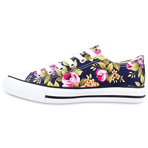 Damen Schuhe Sneakers   Turnschuhe Freizeitschuhe   Low Sneaker   Übergrößen   Prints Glitzer Denim Dunkelblau Blumen