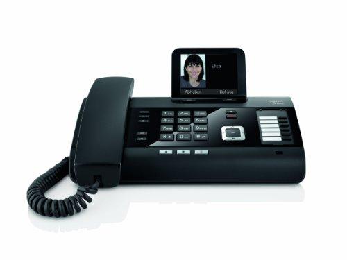 Gigaset DL500A schnurgebundenes DECT Telefon mit Anrufbeantworter (Büro und Haustelefon mit großem Farbdisplay und brilliantem Klang) schwarz
