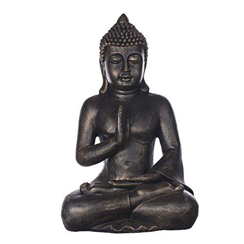 Willken Arts Buddha B4002 Bronze oder Steingrau, für Innen und Außen, Buddha Figur XL 56 cm hoch, Buddha Statue groß, Büste, Gartendekoration, Wetterfest (nicht frostsicher) sehr feine Strukturen
