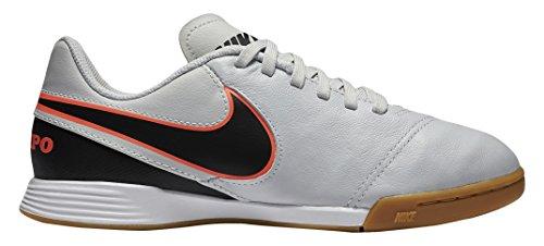 Nike Jr Tiempo Legend Vi Ic Jungen Fußballschuhe Silber / Schwarz / Orange (Pure Platinum / Schwarz-HYPR Orng)