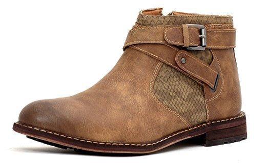 Botines Hombre Motero Hebilla Zapatos Casual Elegante Cremallera Caminar Talla - Beige, 7 UK / 41 EU
