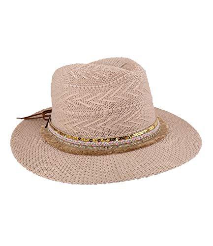 SIX Damen Kopfbedeckung, Strandhut in beige mit braunem Lederband, Fransen, Pailietten, Strasssteinen und Muster im Hut, Schleife im Band (Kostüme Disney Muster)