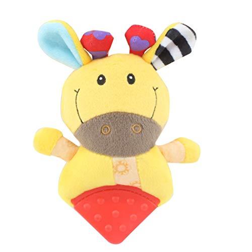 Sulifor Ein Zahngel-Geklapperspielzeug, Tierhandglockenmusik und Beißringbaby-Plüschspielzeuggeklapperbettkindergriffspielzeug