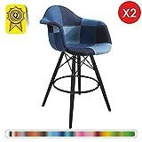 Decopresto 2 x Fauteuil Haut Tabouret de Bar Scandinave Pieds: Bois Noir Assise : Tissu Patchwork Blue Jeans