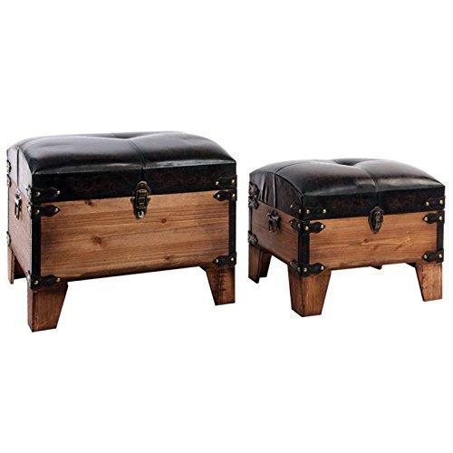 Indhouse - Baúl vintage con estilo industrial en madera y polipiel -