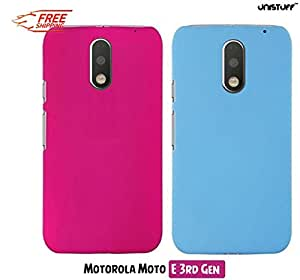 For Motorola Moto E (3rd Generation)[COMBO OFFER]: Unistuff™ Matte Finish Hard Case Back Cover for Motorola Moto E (3rd Generation) [SLIM FIT][FREE SHIPPING] (Pink, Sky Blue)