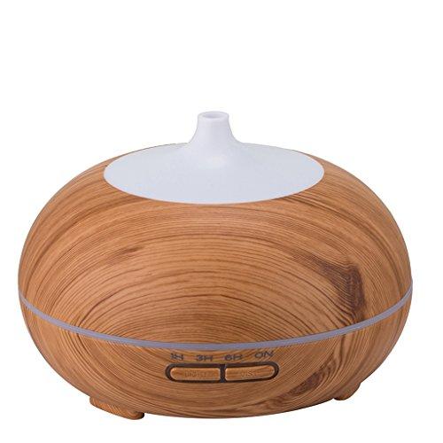 Crayom Ätherisches Öl Diffusor, Holzmaserung 300ml Aroma-Luftbefeuchter, kühler Nebel mit 7 Farb-LED-Lampen Ändern und Timer-Einstellungen, wasserlose Autoabschaltung, für Yoga, Home, Spa, Babyzimmer ( Color : Light )
