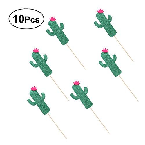 per Kaktus Cupcake Toppers Kuchen Picks Kuchen Dekoration für Geburtstag Hawaii Luau Party 10 Pcs (Deep Green) ()
