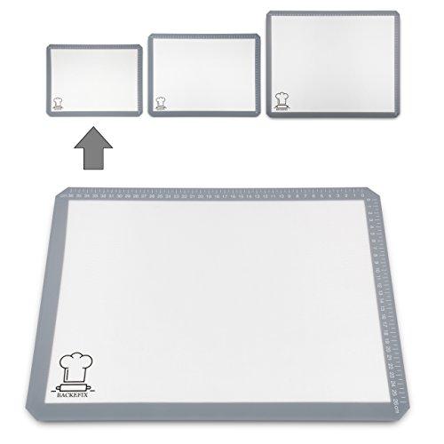 BackeFix Backmatte Silikonunterlage wiederverwendbare Dauerbackfolie – ohne Backpapier und Fett backen (40x30cm)