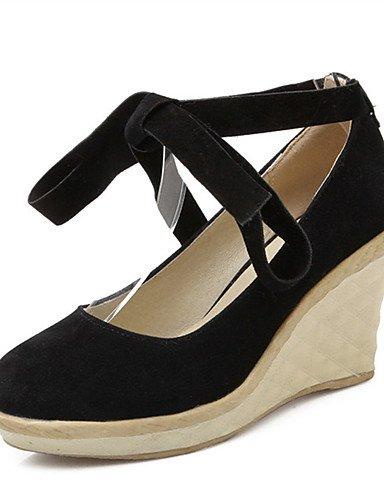 WSS 2016 Chaussures Femme-Mariage / Habillé / Décontracté / Soirée & Evénement-Noir / Rouge / Beige-Talon Compensé-Compensées-Talons-Laine black-us7.5 / eu38 / uk5.5 / cn38