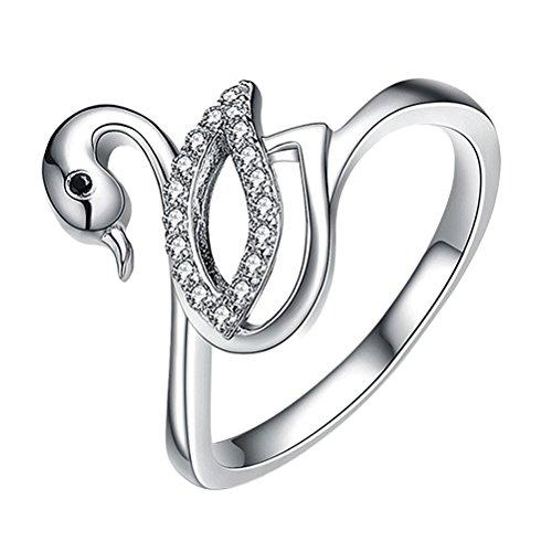 Fenical Damen Schwan Ring Strass Fingerringe Jahrestag Ring mit Blumen für Frauen Mädchen Party Hochzeit Geburtstag (Silber)