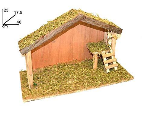 Vetrineinrete® capanna in legno per natale con muschio presepe con scala per natività statue pastori statuine decorazioni natalizie 40x17,5x23cm 84697 f43